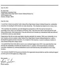 Thank You Letter For Scholarship Recipient Scholarship Program Luther Judson Price High School Alumni Athletes Alumni