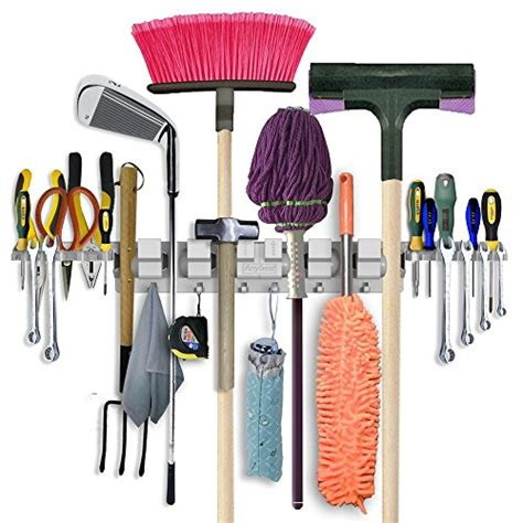 Anybest Patented Design Utility Mop Broom Holders Wall Garden Tool Wall Storage