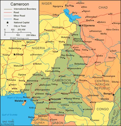 cameroon in world map map of cameroon cities search maps