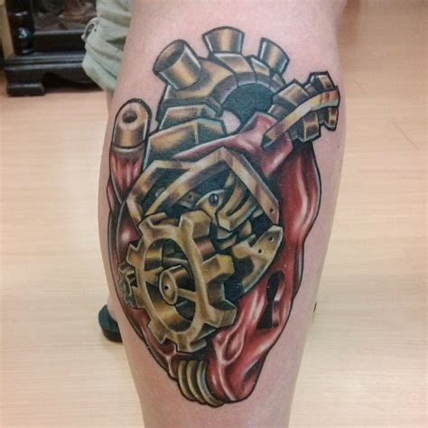 biomechanical heart tattoo biomechanical on leg tattooshunt