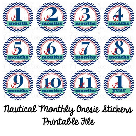 printable onesie stickers nautical monthly onesie stickers printable digital