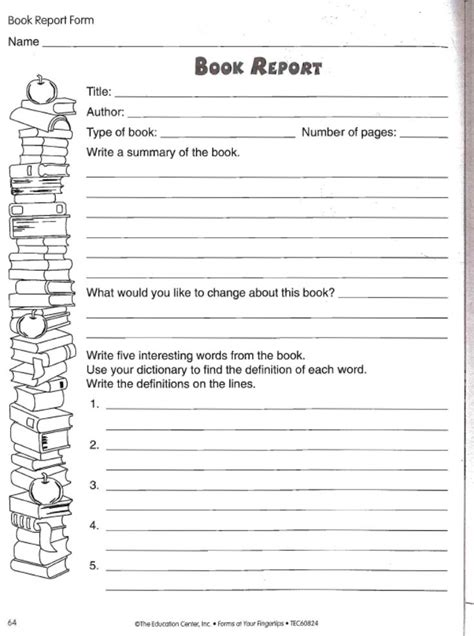 book report ideas for 4th grade book report worksheets for grade book reports 1st