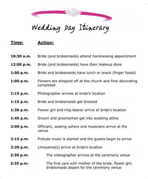 Wedding Ceremony Agenda by Wedding Itinerary Template 8 Free Documents In