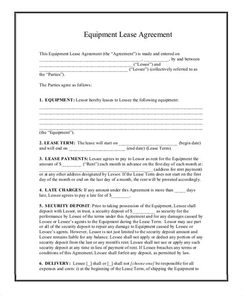 Printable Equipment Lease Agreement | printable lease agreement 9 exles in word pdf
