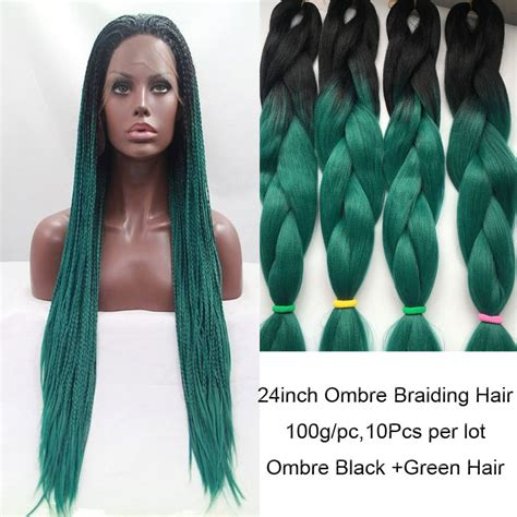 ombre synthetic braiding hair 10pcs 24inch ombre braiding hair hair 100g black green