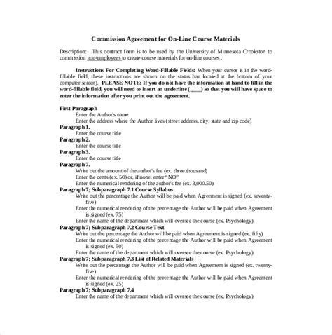 sales commission agreement template 21 commission agreement template free sle exle