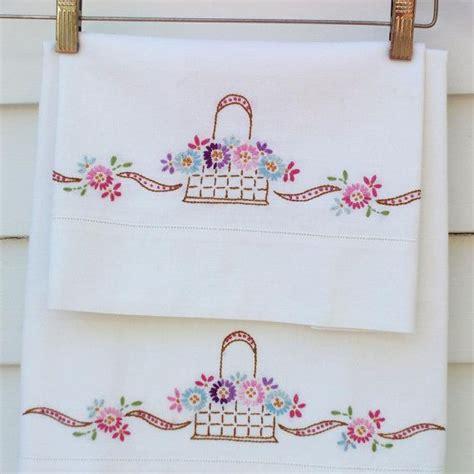 Vintage Pillow Cases vintage pillowcases embroidered pillowcases embroidered flower bask