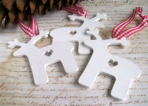wooden reindeer christmas decorations or tags 3 white red