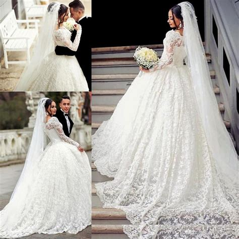 ball gown lace wedding dress arabic style appliques