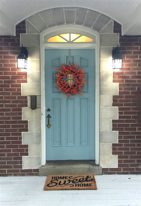 Light Blue Front Door Get The Look My Niece S Fall Front Door Beneath My