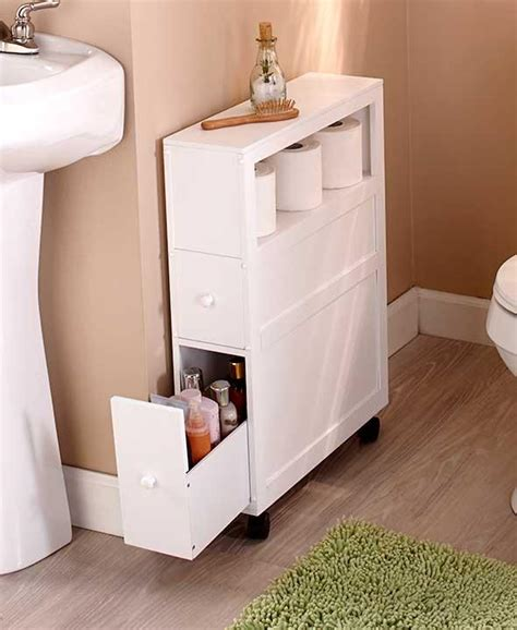 Bathroom Storages New Rolling Slim Bathroom Storage Organizer Cabinet Toilet Brush Black Or White Ebay