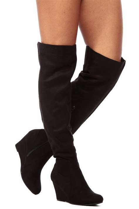 The Knee Wedge Boots black the knee wedge boots bsrjc boots