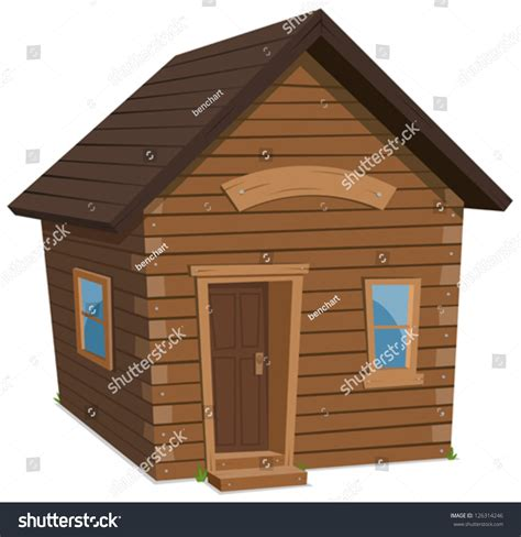 wood house wood house lifestyle illustration simple stock vector 126314246
