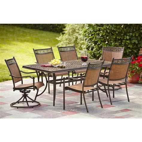Hton Bay Niles Park 7 Piece Sling Patio Dining Set S7 Patio Dining Sets Home Depot
