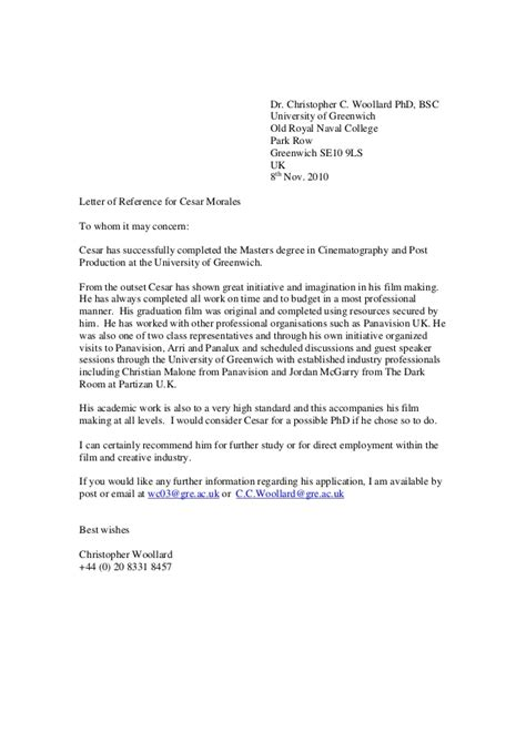 Recommendation Letter For Msc Student Greenwich Reference Letter