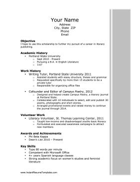 Scholarship Resume Templates by Scholarship Resume Template