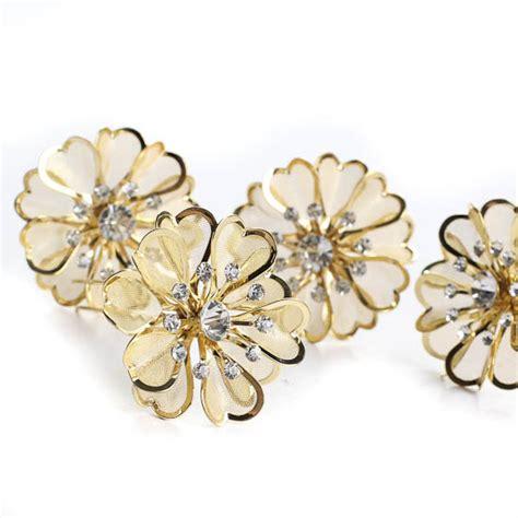 Flower Rhinestone Hair Pin gold mesh rhinestone flower hair pins new items