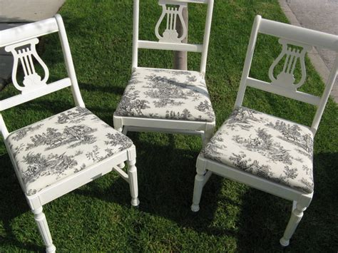 Diy Armchair Upholstery by Diy Vintage Chairs Toile Fabric Eclectic Dining Room