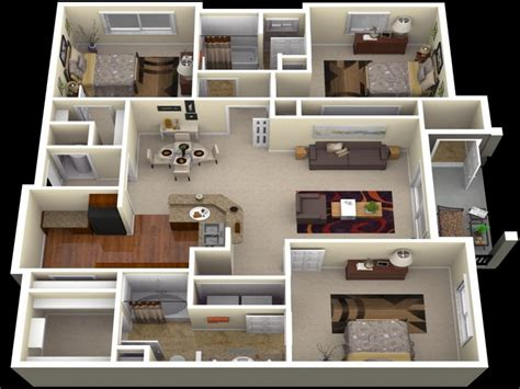 Three Bedroom Apartments In Dc | 3 bedroom apartment floor plans 3d 3 bedroom apartments in