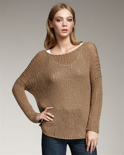 Sugar Sweater vince chunky knit sweater brown sugar in brown lyst