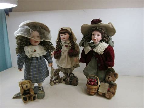 porcelain doll donation lot of 3 boyds yesterdays child porcelain doll