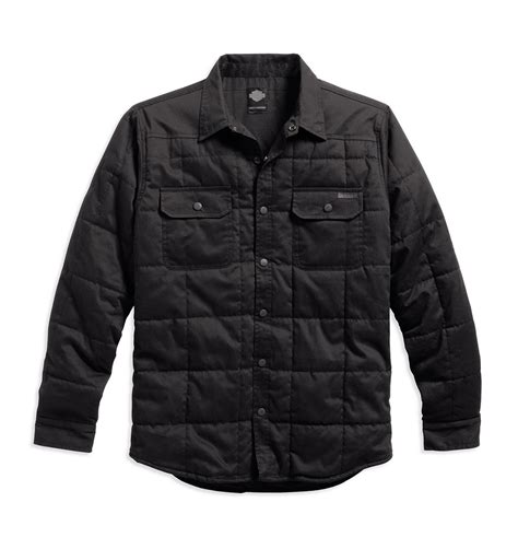 Quilted Shirt Jacket by Harley Davidson Mens Quilted Cotton Shirt Jacket