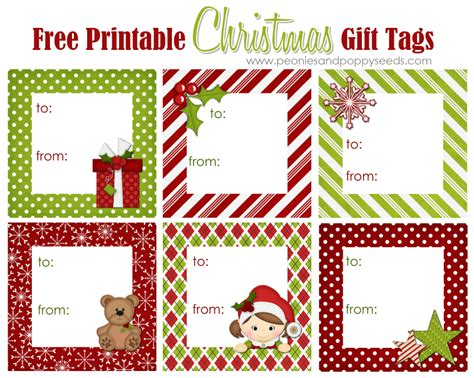 printable personalized christmas gift tags free peonies and poppyseeds