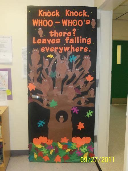 this is a colorful idea for a fall classroom door display