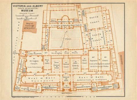 victoria and albert museum floor plan 1930 antique map of victoria and albert museum london