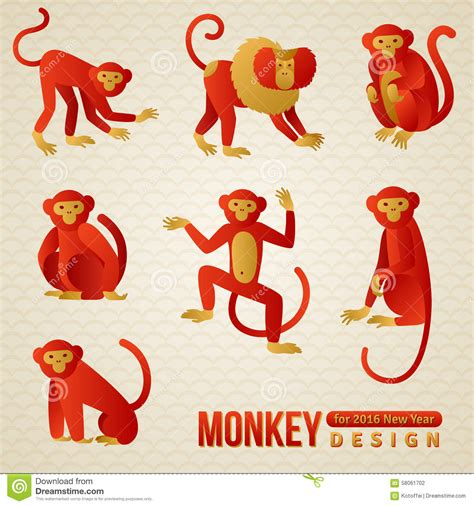 new year of monkey set of zodiac monkeys 2016 new year stock
