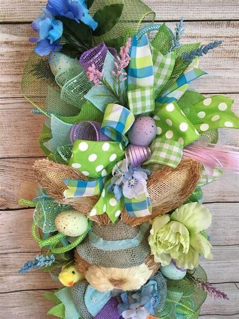 handmade deco mesh easter spring door swag wreath swag