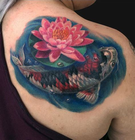 tattoo koi and lotus koi fish and lotus shoulder tattoo by jamie lee parker