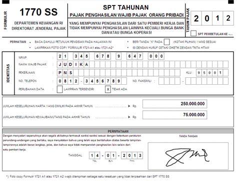 petunjuk pengisian spt tahunan pph orang pribadi 2016 bagi formulir spt tahunan pph orang pribadi form 1770 s tahun