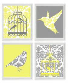 prints for home decor birds wall art print yellow gray decor damask bird cage