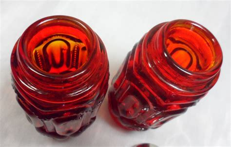 Ruby Glass L by Vintage L E Smith Ruby Amberina Glass Moons