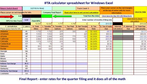 Microsoft Excel Spreadsheet For Calculating Ifta Fuel Tax Ifta Spreadsheet Template Free