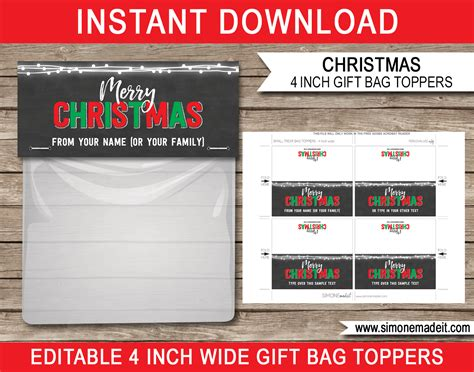 bag topper template 4 per page just b cause