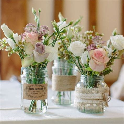 Hochzeit Blumenschmuck by Traditional Style Glass Jar Wedding Centrepiece