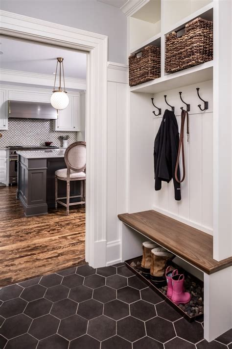 kitchen entryway coat rack bench laundry room traditional with built in seat round baskets