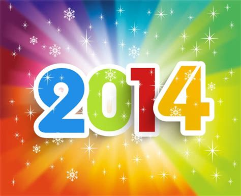 happy new year 2014 colorful background vector