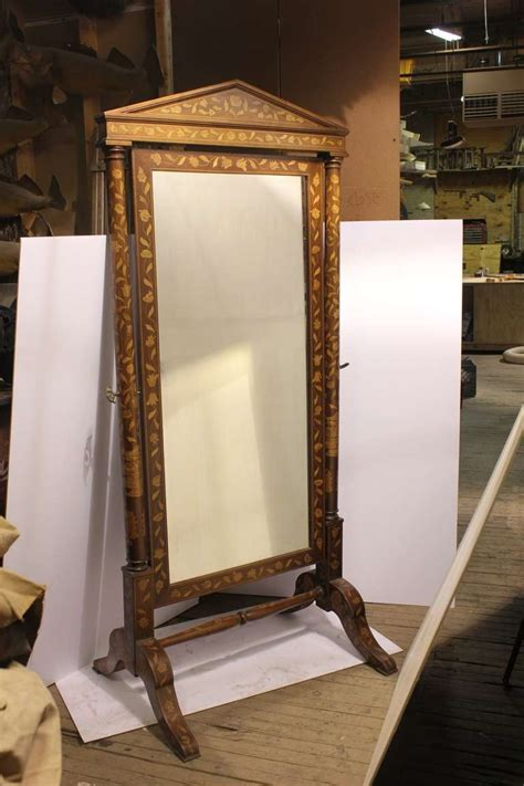 antique inlaid wood floor mirror at 1stdibs