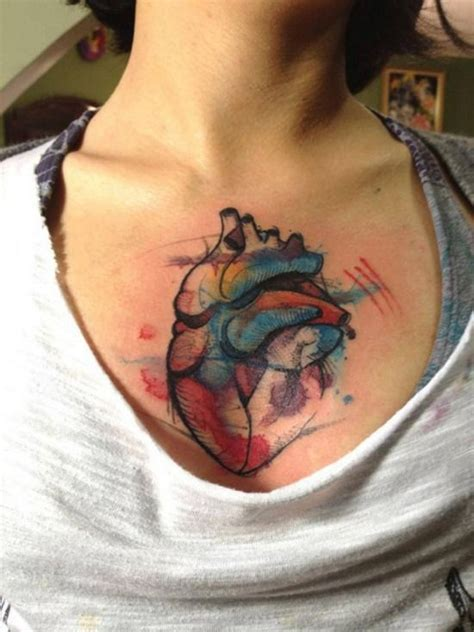 heart tattoos pinterest watercolor chest heart tattoo ink spiration pinterest