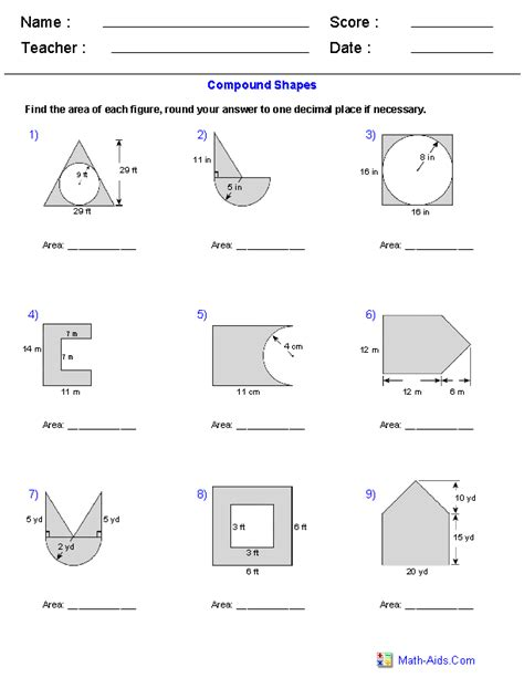 shapes worksheets year 8 area of compound shapes adding and subtracting regions