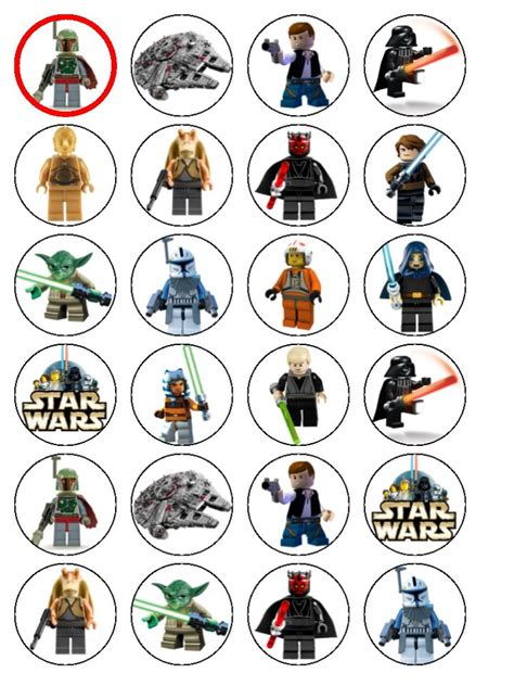 printable lego star wars cupcake toppers 24 lego star wars edible wafer paper cup cake toppers