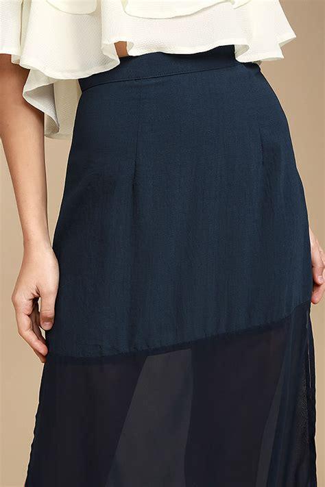 Marien Maxi Blue lovely navy blue skirt blue chiffon maxi skirt side