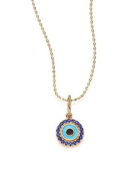 sydney evan sapphire enamel 14k yellow gold evil eye