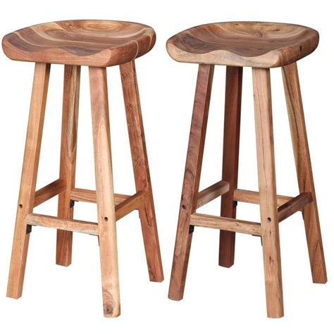 4 Wooden Bar Stools by Solid Wood Bar Stools Breakfast Kitchen Room Wooden Stool