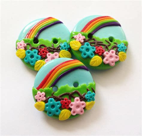 Handcrafted Buttons - summer rainbow set of 3 polymer handmade buttons on luulla