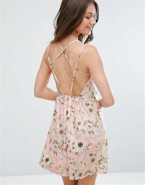 Floral Strappy A Line Dress asos asos floral print strappy back a line sundress