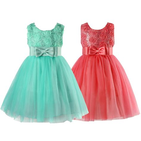 Dress Princess Kid Maroon Mint summer green flower formal wedding bridesmaid christening princess dress